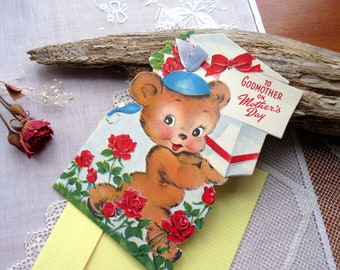 Vintage  Card  , Mother's Day  Card , Unused , To Godmother ,   Card With  Envelopes .
