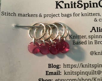 Glass bead snag-free knitting stitch markers -- set of five -- pink glass drop beads