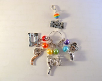 I Love Sewing Marker Set, Stitch Markers, Crochet Markers, Knitting Accessories, Beaded Markers, Sewing Charms, Rainbow Markers