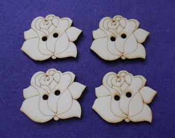 4 buttons, rose, wood, 5 cm (15-0018C)