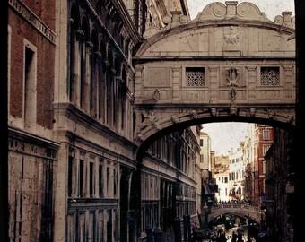VENTE : Le pont des soupirs Venise voyage photographie atmosphère romantique beige marron Pierre brique bridge vintage historique classique
