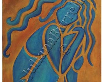 Greeting Card from Original Acrylic Painting entitled Blue Girl - 5x7 inch - 10 CARDS