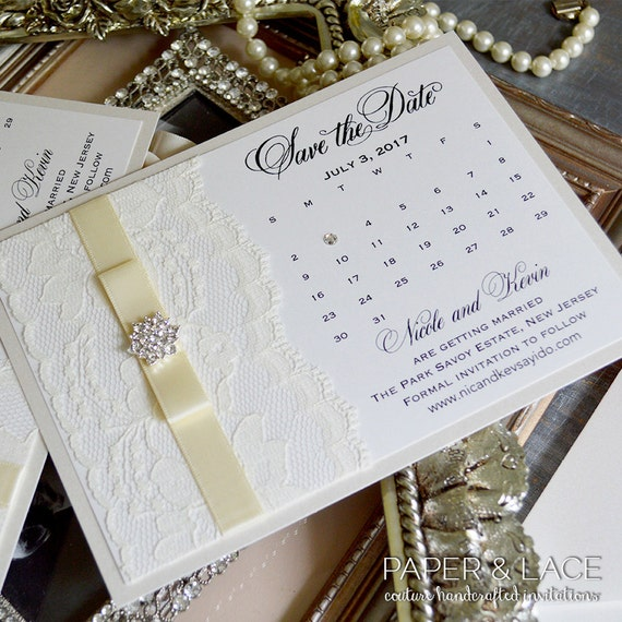 CALENDAR Save The Date - Ivory Save the Date Card with Ivory Lace, Ivory Ribbon and Crystal Button - Custom colors available