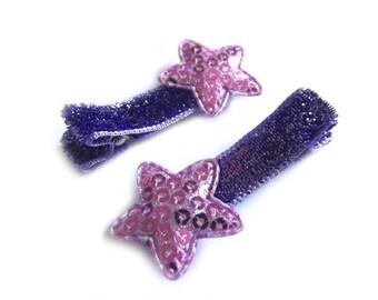 Purple Star Hair Clips Purple Hair Clips Purple Glitter Hair Clips Purple Sequin Hair Clips Baby Hair Clips Baby Girl Hair Clip Toddler Girl