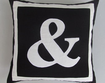 Ampersand(&) Black and white monogram pillow. Decorative ampersand cushion cover. Custom made and pillow.  12, 14, 16, 18, 20  inches