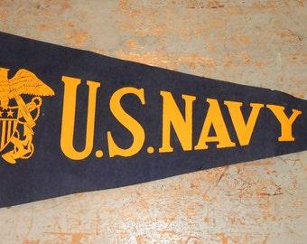 Vintage Pennant, U.S. Navy,  Felt, Flag, Blue, Wall Decor, Collectibles