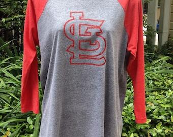 St. Louis Cardinals shirt, STL shirt, STL raglan, stl glitter shirt, custom stl shirt, stl baseball shirt