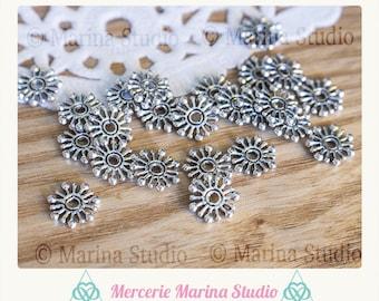 25 beads caps flower snowflake snow 10 mm