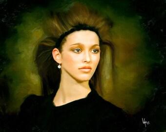 Pretty girl Painting Print Landscape Canvas Art Painting Original Canvas Painting Woman Portrait Woman Painting Large oil painting of Woman