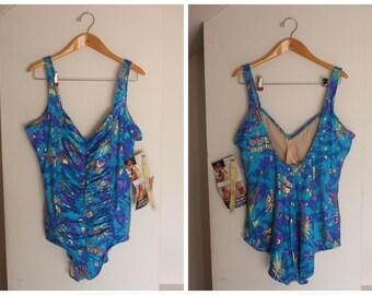 vintage plus size one piece swimsuit, vintage 90s plus size swimsuit, 90s vintage one piece swimsuit, size 24 vintage swimsuit, blue swimsui
