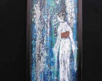 Geisha Ghost acrylic paintings on upcycled seed tray, OOAK painting