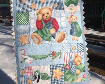 Blue Jean Teddy Bear Quilt