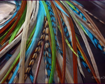Accessories Hair Feather Kit Feather Extensions Turquoise Lime Brown Feather Hair Extension Kit Boho Hair Accessories for Women, 10