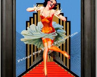 Flapper Art Print 8 x 10 - Woman on Stairs -1920s Art Deco