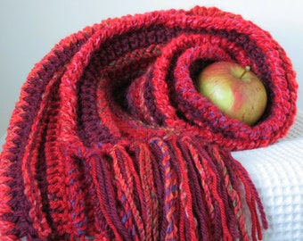 Red Wool Scarf Long Winter Scarf with Fringe Burgundy, Cranberry Winter Accessories Handmade Crochet Scarf