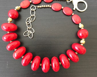 Big bold chunky ethnic style bright red resin and gold bead statement necklace