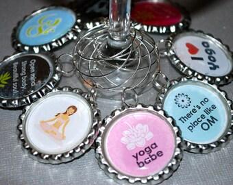 Wine Charms. Yoga Wine Charms. Yoga Girl Set of 8 Wine Charms