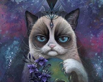 Mind Control Feline - grumpy cat, large print, fine art print, art by phresha, skull art, illuminati art, third eye cat, trippy art