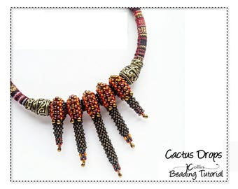 Cubic Right Angle Weave Seed bead Necklace beading Pattern Slide on Beaded Spikes Beading Instructions Jewelry Tutorial PDF Pattern CACTUS