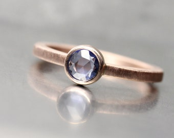 Rose-Cut Ceylon Sapphire 14K Rose Gold Engagement Ring Modern Pale Purple Blue Open Shank Round Bezel Minimalistic Bridal - Lavender Lake