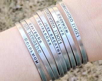 Custom Bracelet, Personalized Cuff Bracelet, Silver Aluminum Cuff, Bridesmaid Gift, Best Friend Gift, Gift for Her, Custom Name Bracelet