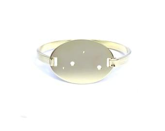 Libra High Polished Raw Brass Zodiac Constellation Oval Bracelet