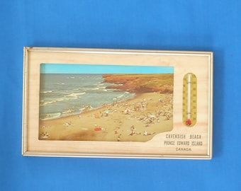 Vintage pictorial advertising thermometer in frame  Cavendish Beach Prince Edward Island Canada
