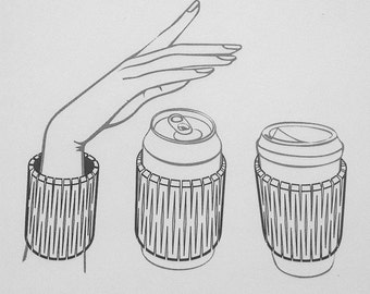 Wooden Cup Cuff - insulator for hot and cold drink cans, cups and bottles