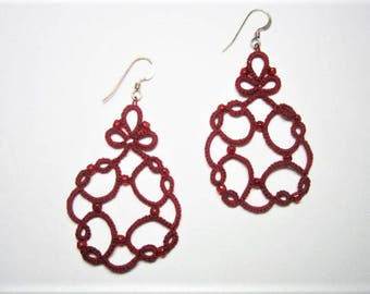 Red Tatted Lace Earrings, Red Earrings, Red Lace Earrings, Red Beaded Earrings, Red Jewelry, Beaded Earrings, Lace Jewelry, Beaded Jewelry