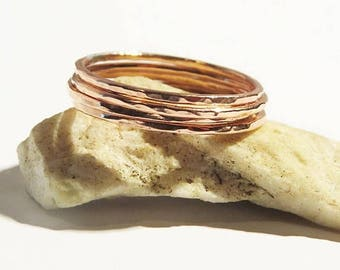 Set of 4 Copper Rings,Super Thin Copper Rings, Hammered Stacking Rings, 1 mm Copper Rings, Simple Rings, Dainty Rings