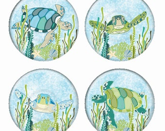 Swimming Turtles Illustrations Magnets or Pinback Buttons or Flatback Medallions Set of 4