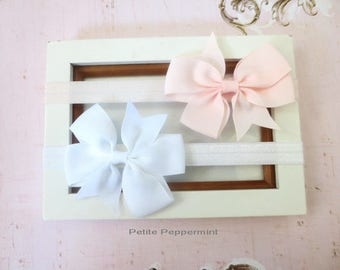 Set of Two Ballet Pink and White Baby headband, baby girl headband, newborn headband, toddler headband, Baby headband bow, girl hair bow