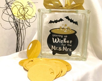 Halloween Wedding Guest Book Wish Jar ! Stirring up Wishes for the Mr & Mrs - Witches Caldron Gold Bubbles - Black Bats - Gold and Black
