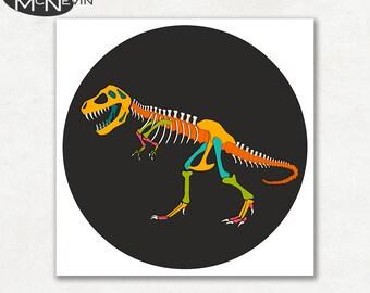 TYRANNOSAURUS REX (T-Rex) SKELETON, Modern Pop Art, Photographic Dinosaur Print