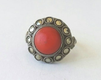 Large coral and marcasite halo ring