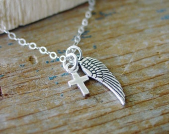 Angel Wing Cross Necklace, Sterling Silver Necklace, Gifts for Her, Faith Jewelry, First Communion Gift, Confirmation, Memorial Necklace