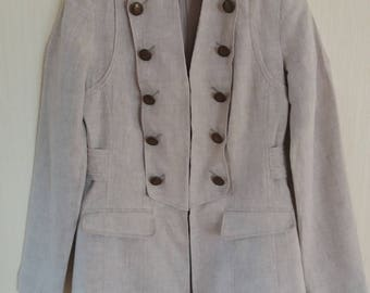 Woman's Classic Linen Beighe Dark Military Style Jacket Medium Size
