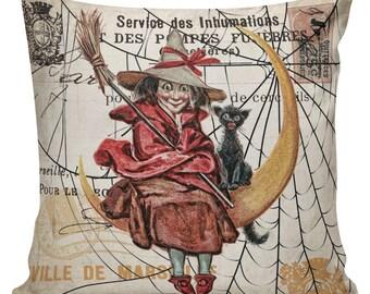 Halloween Pillow, Halloween Decor, Vintage Witch, French, Burlap Cotton Throw Pillow Cover #HA0232