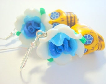 Blue and Yellow Day of the Dead Roses and Sugar Skull Earrings Large