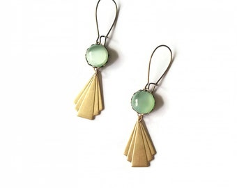 Dune II Earrings (SD0535) - Art Deco Style Earrings - Opal Green - Geometric Earrings - Vintage Style Earrings