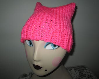 Pink Earred Beanie Hat Knitted by SuzannesStitches, Toddler Pink Eared Hat, Teen Pink Eared Hat, Pink Knit Eared Hat, Woman Pink Eared Hat