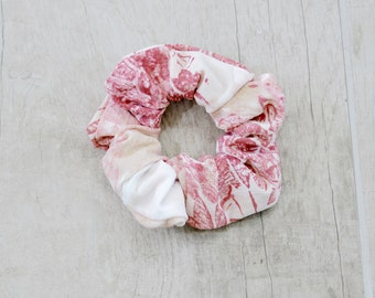 Floral Pink and Rose Scrunchie, ponytail holder, girls hair accessories, women hair accessories