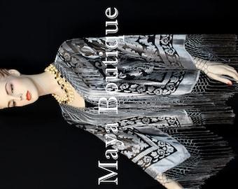 Fringe Jacket Kimono Blazer Burnout Velvet Silver Gray & Black Maya Matazaro