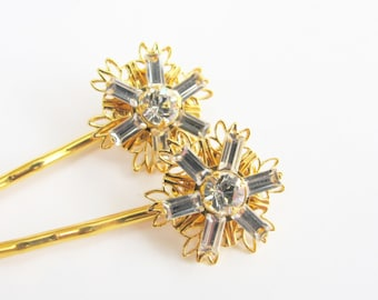 Bridal Sparkle - Crystal Swarovski Snowflake / Flower Hair Pins, Gold Plated, Sold Individually