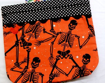 MORE2LUV Dancing Skelletons Cross Stitch Embroidery Project Bag