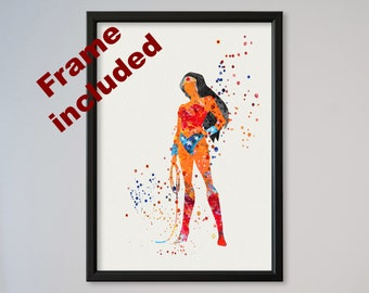 Wonder Woman Watercolor Poster Wall Fine Art Print batman v superman Home Decor Wall Hanging Justice League FRAMED express fast