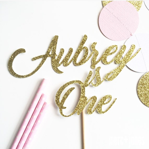 Milestone Birthday | Age + Name | Gold, Silver or Pink Glitter | Gold, Rose Gold or Silver Metallic Cake Topper | Custom Cake Topper