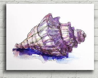Sea Shell Digital Print, Marine Life Poster, Summer Beach, Ocean, Watercolor Painting, Wall Hanging, Instant Download, Wall Decor, Art Gift