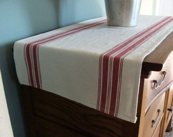Striped Cotton Toweling Table Runner - Oyster and Scarlet