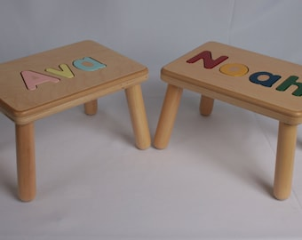 Wooden Name Puzzle Step Stool Bench -  Birthday Gift - Wood - Personalized Puzzle -Kids Stool or Bench -One Name - Mixed Case Letters Only